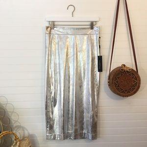 NEW Donna Karan Metallic Silver Pencil Skirt